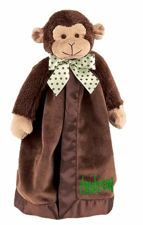 PERSONALIZED Giggles Brown Monkey Security Snuggle Blanket