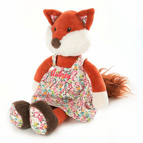 PERSONALIZED Ginger the Fox Dressed in Floral Print 14""