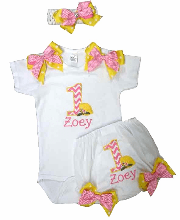 Personalized Girl Birthday Onezee & Diaper Cover Pink Lemonade Chevron Design
