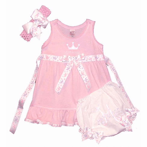 Personalized Girls Pink Princess Dress Set, Bloomers & Headband w/Bow