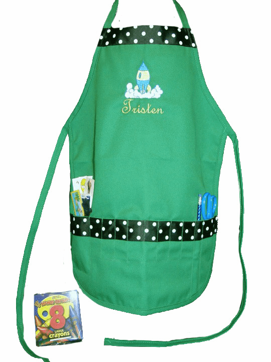Personalized Green Boy's or Girl's Rocketship Craft Crayon Apron