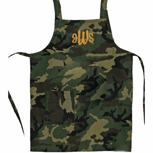 Personalized Green Camouflage Embroidered 1 Pocket Child's Apron