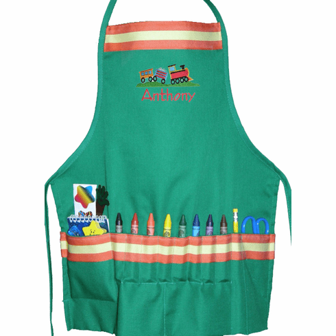 """Personalized Green """"Train"""" or """"Things that Go"""" Craft Crayon Apron"""