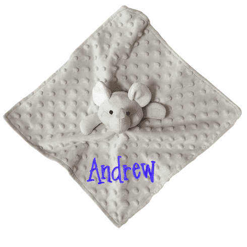 Personalized Grey Minky Dot Elephant Snuggly Blankie Satin Underside