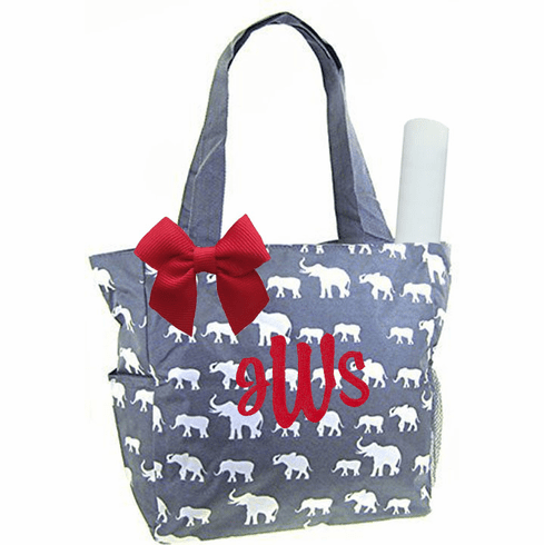 Personalized Grey & White Elephants Pattern Diaper Bag w/Changing Pad