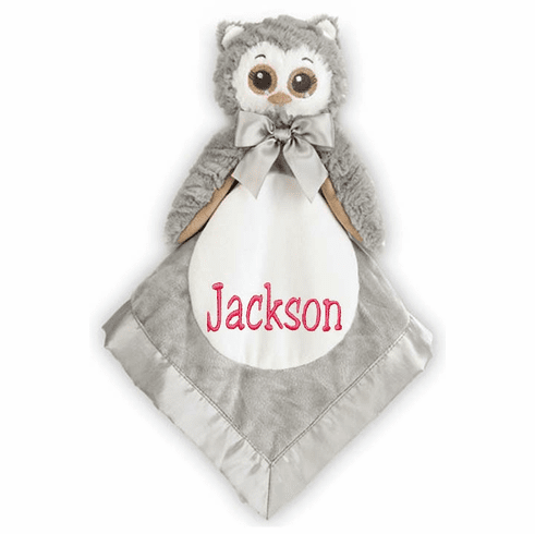 "PERSONALIZED Grey & White ""Lil' Owlie"" Owl Security Snuggle Blanket"