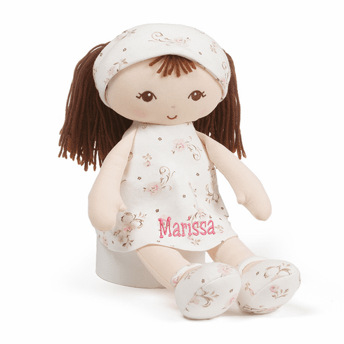 "PERSONALIZED Gund Little Me Soft Floral Baby Doll 13"" Tall Brunette"