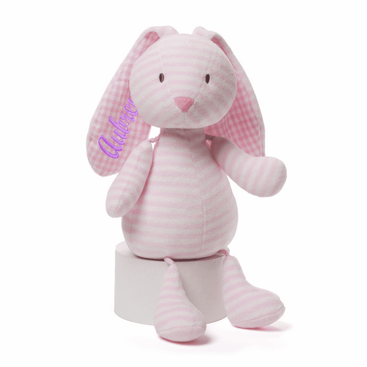 Personalized Gund Pink and White Plush Stripes & Dots Brynlee Bunny