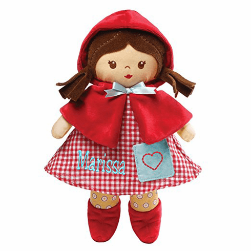 "Personalized Gund ""Red"" Soft Cloth Baby Doll 13"" Tall Brown Hair"