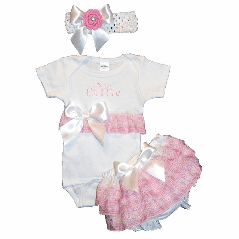 Personalized Hand Made Onezie, Bloomer & HB Set Pink Gingham