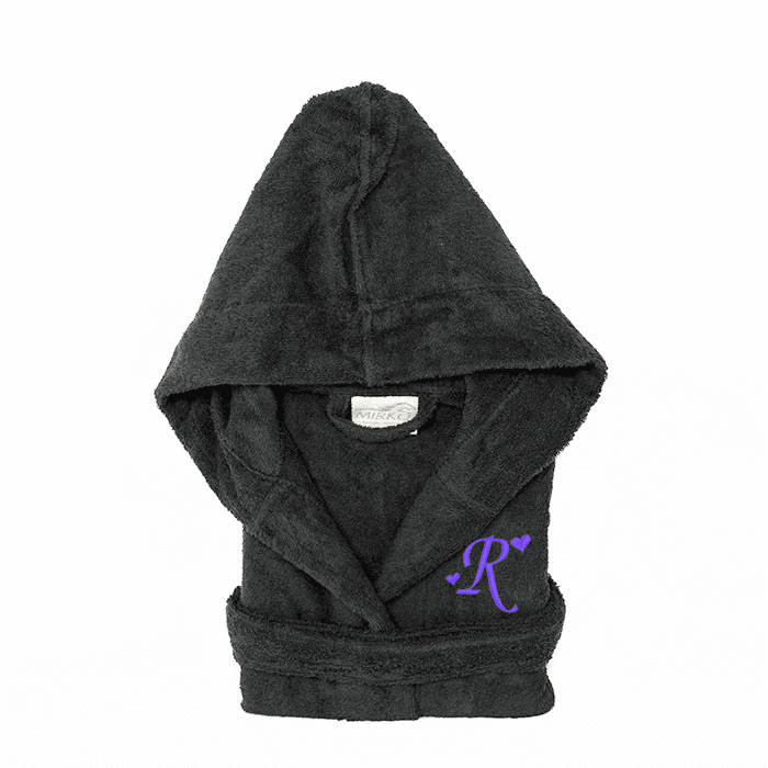 Personalized Hooded Terry Cloth Children�s Robe Charcoal