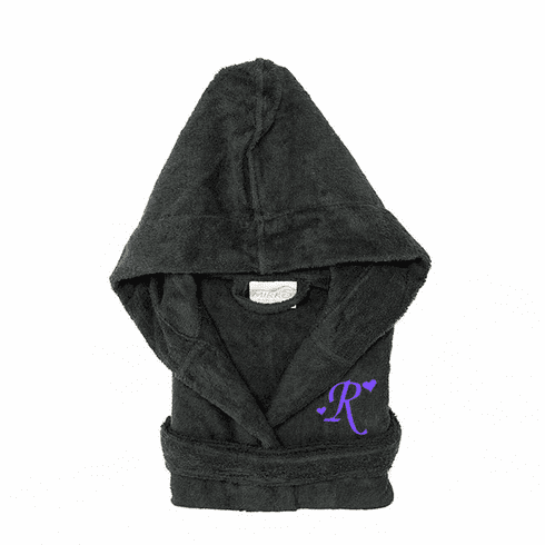 Personalized Hooded Terry Cloth Children's Robe Charcoal