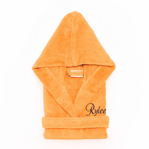 Personalized Hooded Terry Cloth Children's Robe Orange