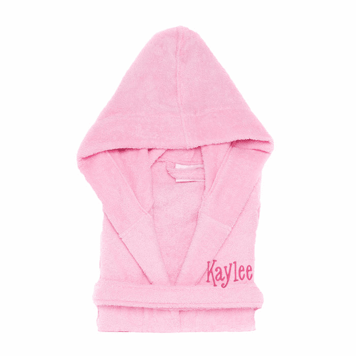 Personalized Hooded Terry Cloth Children�s Robe Pink