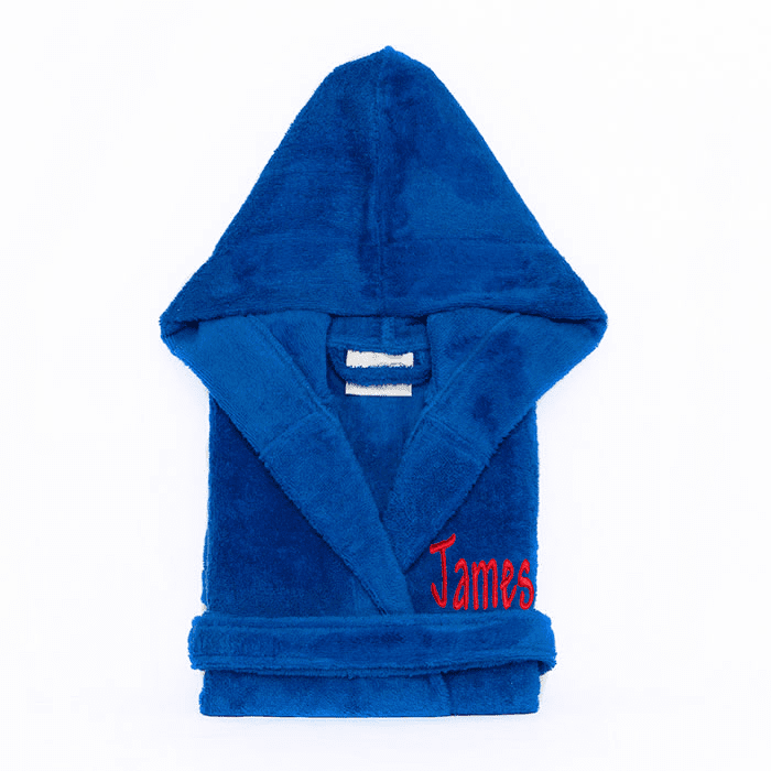 Personalized Hooded Terry Cloth Children�s Robe Royal Blue