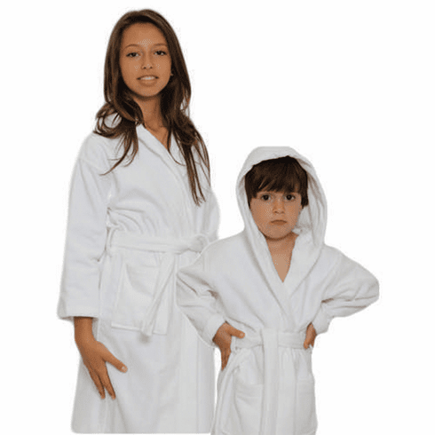 Personalized Hooded Terry Cloth Children's Robe White