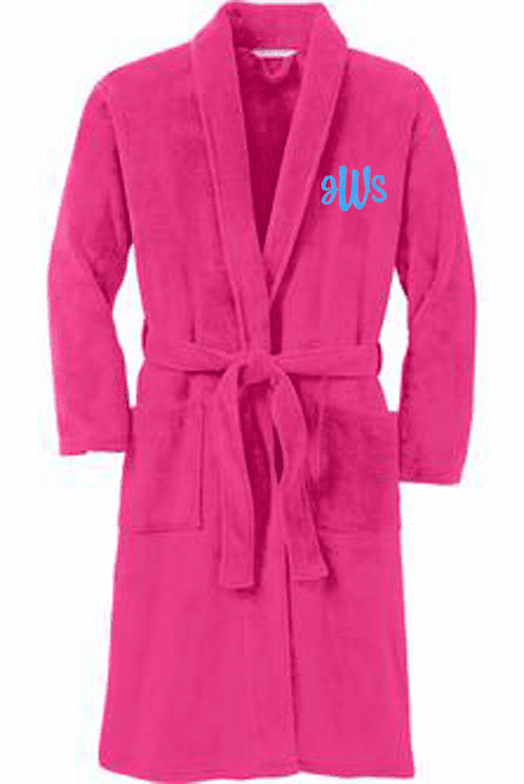 Personalized Hot Pink Plush Microfleece Shawl Collar Robe