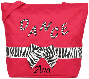 Personalized Hot Pink Quilted Tote Bag Zebra Dance Ballet