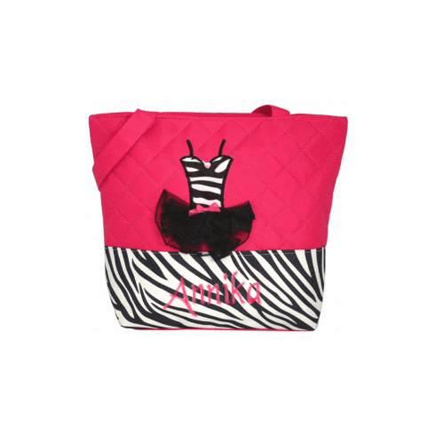 Personalized Hot Pink Quilted Tutu Tote Bag Zebra Dance Ballet