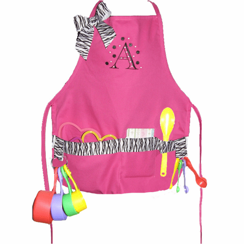Personalized Hot Pink with Zebra Trim Child's Cooking Apron Set