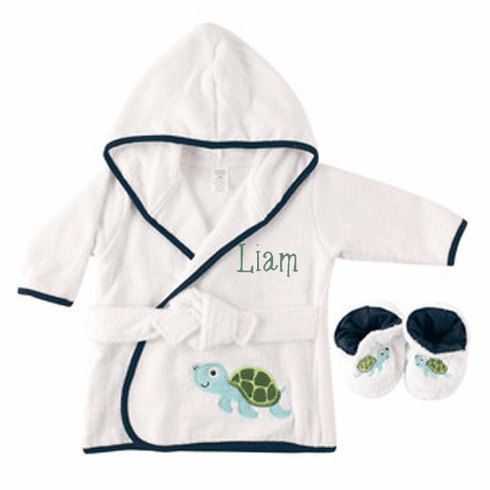 Personalized Infant Baby Blue Turtle Bath Robe with Slippers