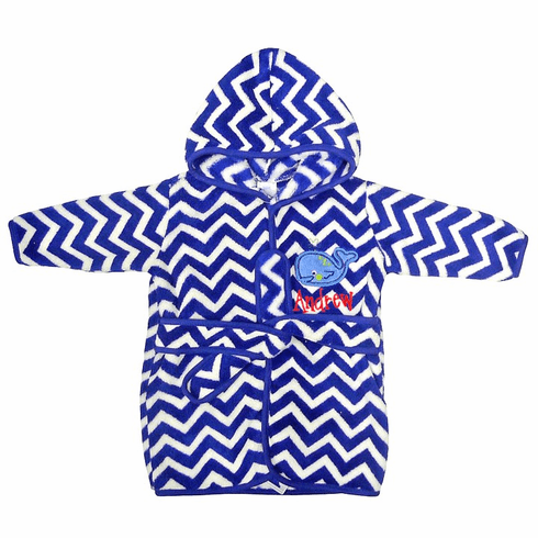 Personalized Infant Baby Boy or Girl Chevron Whale Design Hooded Fleece Robe