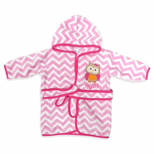 Personalized Infant Baby Chevron Applique Design Pink Hooded Fleece Robe