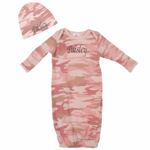 Personalized Infant Baby Gown & Hat Set Pink Camo