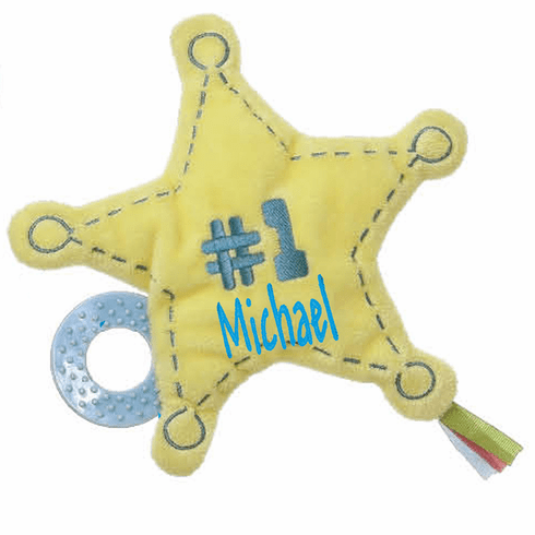 PERSONALIZED Infant Baby Plush Teether Snuggly Toy Yellow Star