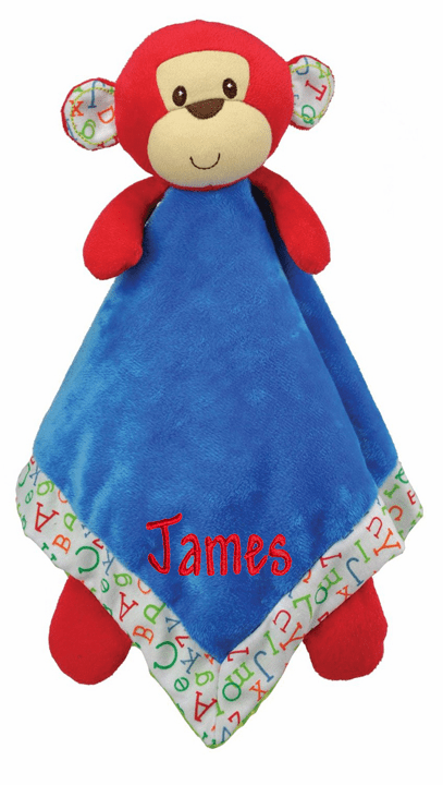PERSONALIZED Infant Baby Security Snuggle Blankie Red & Blue Monkey