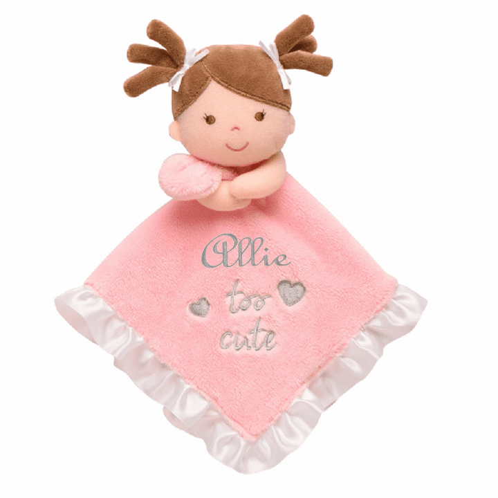 PERSONALIZED Infant Baby Security Snuggly Blankie Adorable Brown Hair Dolly Design