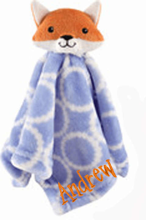 PERSONALIZED Infant Baby Security Snuggly Blankie Blue Fox Design