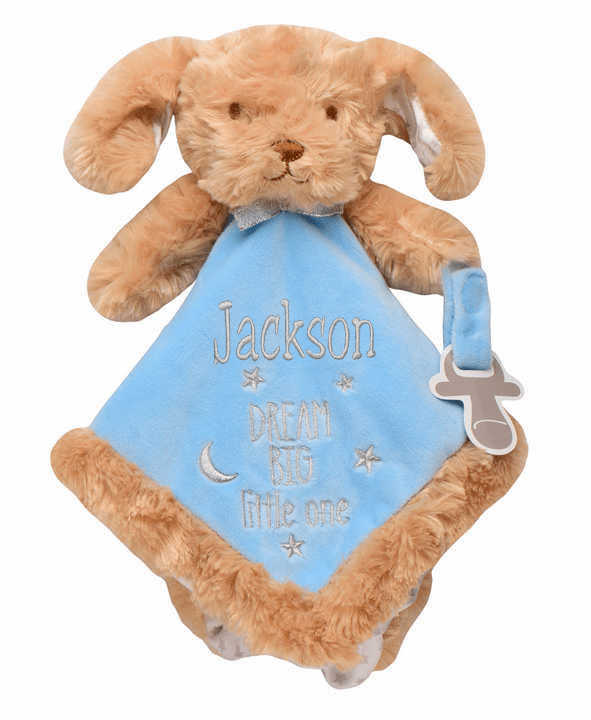 PERSONALIZED Infant Baby Security Snuggly Blankie Brown Furry Puppy Design