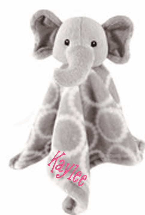 PERSONALIZED Infant Baby Security Snuggly Blankie Grey Elephant Design