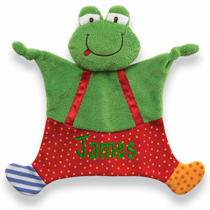 PERSONALIZED Infant Baby Security Snuggly Blankie Gund Frog Boy
