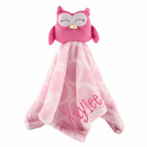 PERSONALIZED Infant Baby Security Snuggly Blankie Pink Owl Design