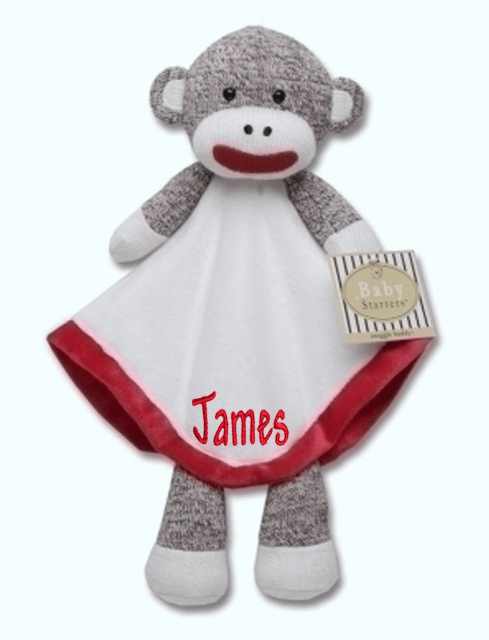 PERSONALIZED Infant Baby Security Snuggly Blankie Sock Monkey Boy