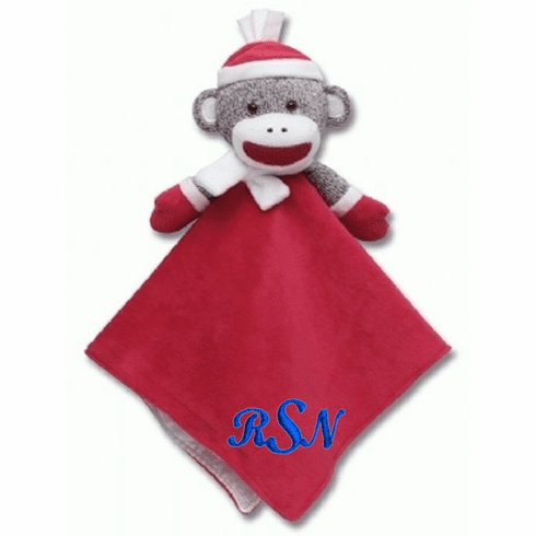 PERSONALIZED Infant Baby Security Snuggly Blankie Sock Monkey Holiday