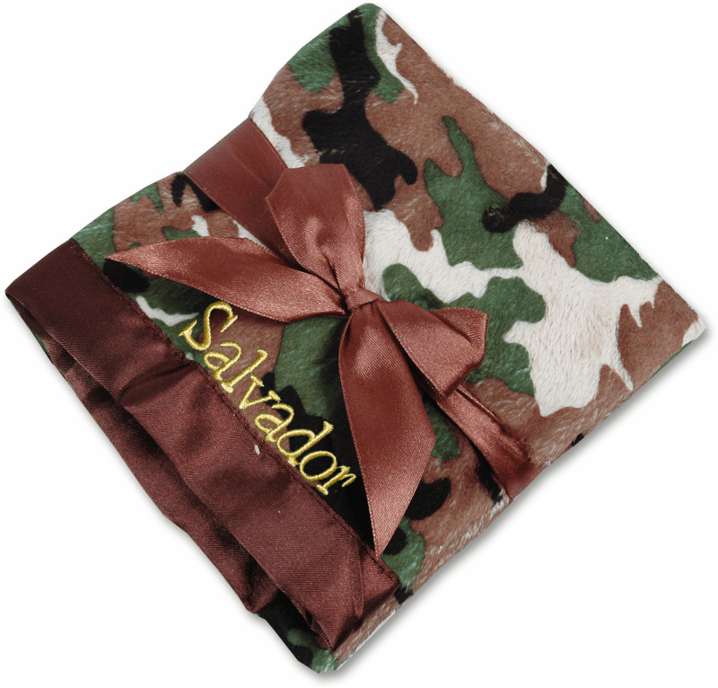 Personalized Infant Baby Toddler Security Blanket - Camo Minky/Chocolate Satin Personalize Me