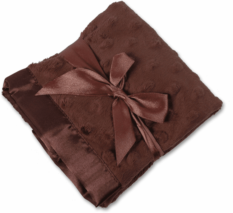 Personalized Infant Baby Toddler Security Blanket - Chocolate Minky Dot/Chocolate Satin  Personalize Me