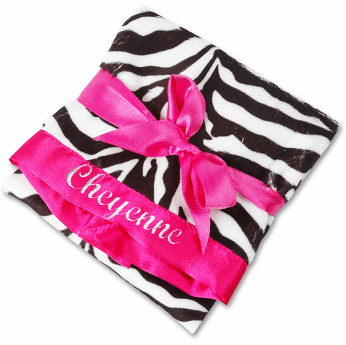 Personalized Infant Baby Toddler Security Blanket - Zebra Minky/Hot Pink Satin Personalize Me