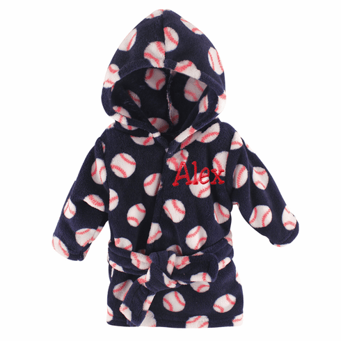 Personalized Infant Coral Fleece Baby Baseball Design Bath Robe