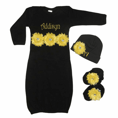 Personalized Infant Gown, Booties & Hat Set Black w/ Yellow Shabby Chic Flowers