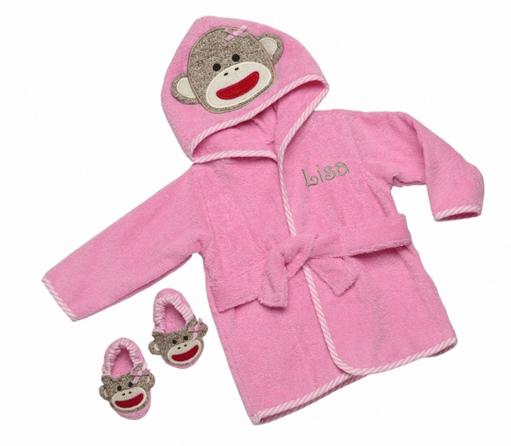 Personalized Infant Pink Baby Girl Sock Monkey Bath Robe & Slippers