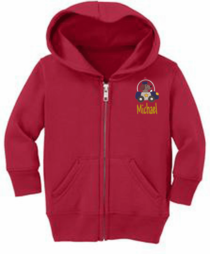 Personalized Infant Size Full Zip Hooded Sweatshirt Animals On the Go Design