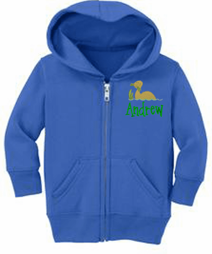 Personalized Infant Size Full Zip Hooded Sweatshirt Dinosaur Design