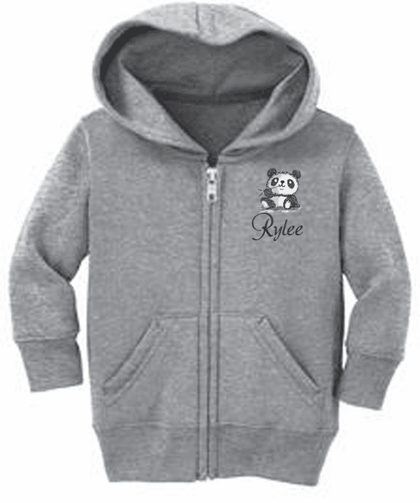 Personalized Infant Size Full Zip Hooded Sweatshirt Panda Bear Design