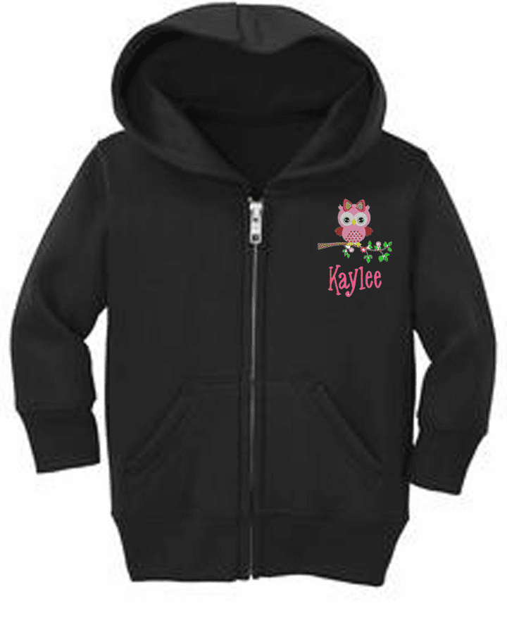 Personalized Infant Size Full Zip Hooded Sweatshirt Pink Owl Design