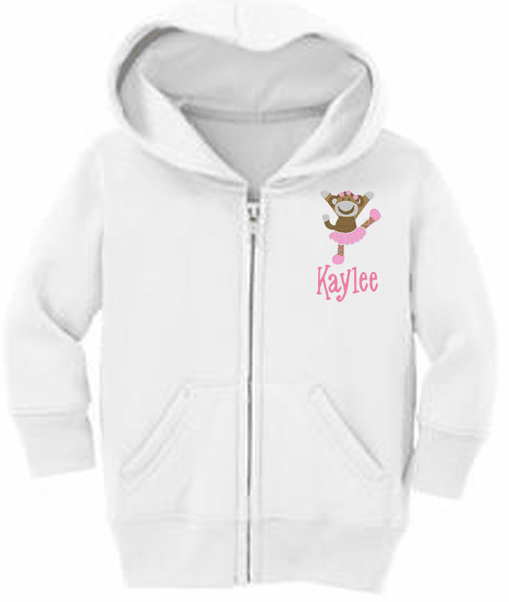 Personalized Infant Size Full Zip Hooded Sweatshirt Sock Monkey Dancing Design