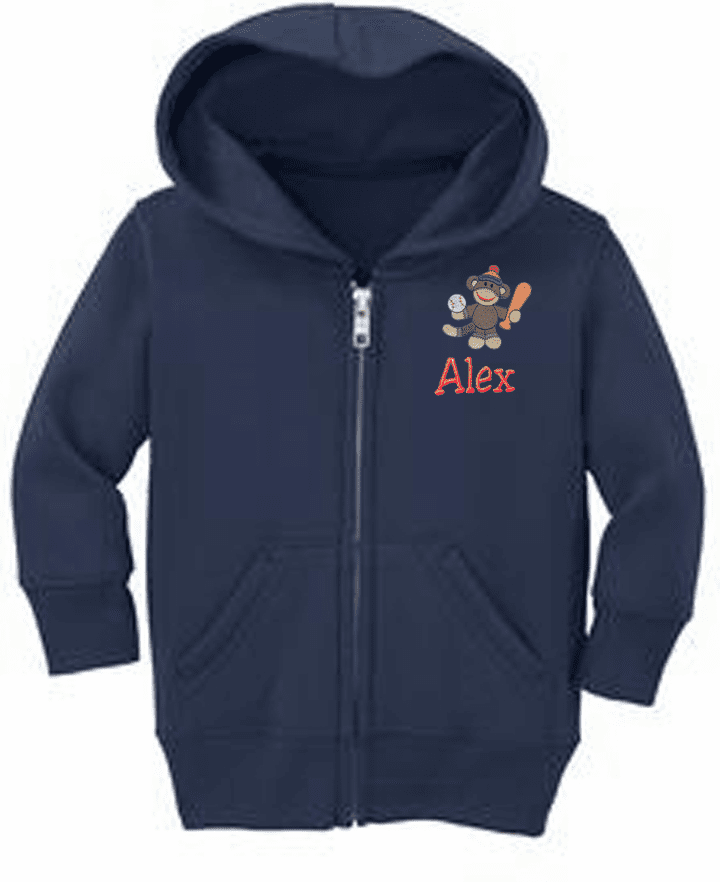 Personalized Infant Size Full Zip Hooded Sweatshirt Sock Monkey Sports Design